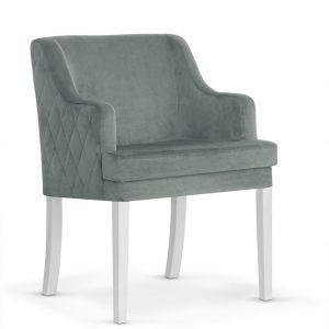 Fotoliu fix tapitat cu stofa, cu picioare din lemn Grand Grey / White, l58xA60xH89 cm