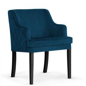 Fotoliu fix tapitat cu stofa, cu picioare din lemn Grand Navy Blue / Black, l58xA60xH89 cm