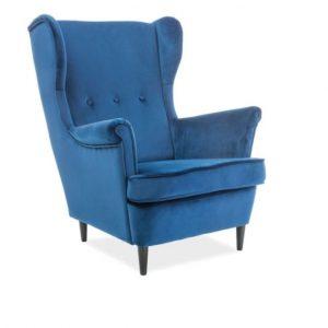 Fotoliu fix tapitat cu stofa, Lord Velvet Blue Bluvel 86, l72xA56xH101 cm