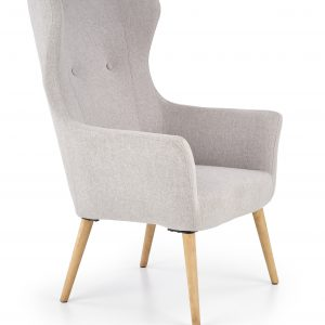 Fotoliu tapitat cu stofa, cu picioare din lemn Cotto Light Grey, l73xA76xH99 cm