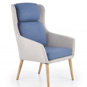 Fotoliu tapitat cu stofa, cu picioare din lemn Purio Light Grey / Blue, l67xA75xH103 cm