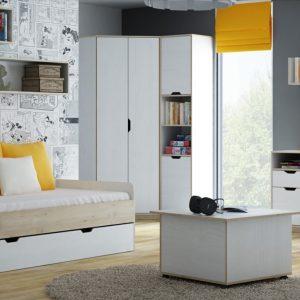 Set Mobila dormitor din pal, pentru copii 8 piese Happy White / Beech