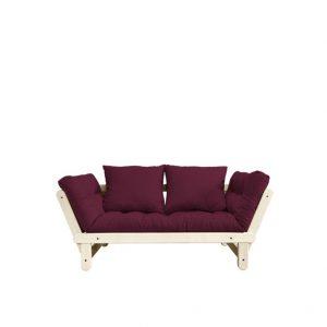 Canapea Extensibila 2 locuri, stofa si cadru lemn de pin, Beat Natural, l162xA80xH75 cm