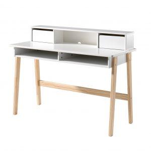 Masa de birou din lemn de pin si MDF Kiddy White,L110xl60xh90 cm