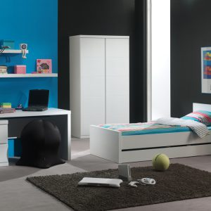 Set Mobila dormitor din MDF, pentru copii 2 piese Lara White