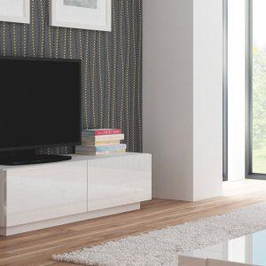 Comoda TV din MDF Livo RTV-160S White, l160xA40xH38 cm