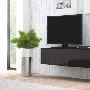 Comoda TV din MDF Livo RTV-160W Black, l160xA40xH30 cm