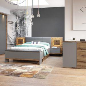 Set Mobila Dormitor 6 piese Livorno Oak / Grey