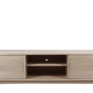 Comoda TV din lemn si furnir Marte Oak, l180xA44xH55 cm