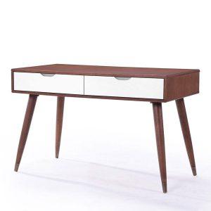 Masa de birou cu 2 sertare, din MDFsi furnir Ima Walnut/White, l120xA60xH75 cm