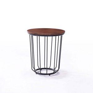 Masa de cafea rotunda din lemn cu picior metalic, Esther Walnut, O45xh50 cm