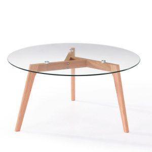 Masa rotunda de cafea din sticla cu picioare de lemn, Elma Beech, O90xh45 cm