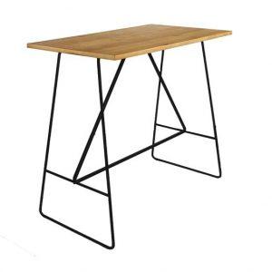Masa de bar din furnir si metal Lisa Oak / Black, L127xl58xH105 cm