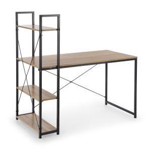 Masa de birou cu etajera, din pal si metal Narvik B1 Sonoma Oak / Black, L120xl64xH120 cm
