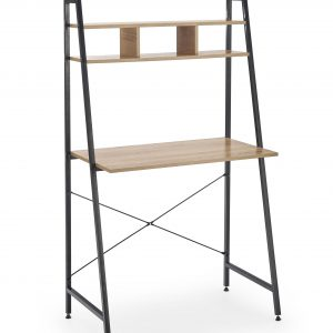 Masa de birou cu etajera, din pal si metal Narvik B2 Sonoma Oak / Black, L84xl46xH142 cm