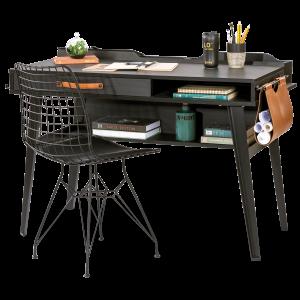 Masa de birou din pal si metal, pentru tineret Dark Metal Black / Graphite, L114xl62xH80 cm