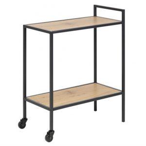 Masa minibar mobila din MDF si metal Seaford Oak / Black, L60xl30xH75 cm