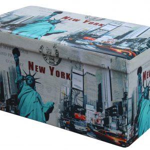 Taburet cu spatiu de depozitare Moly XL New York Multicolor, l76xA38xH38 cm