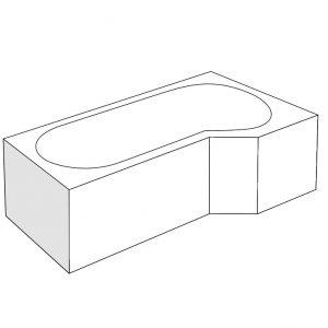 Panou lateral Radaway pentru cada asimetrica Kariteia 65cm h56cm