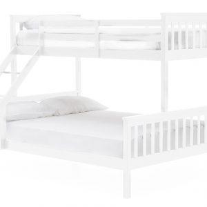 Pat etajat din lemn de pin si MDF pentru copii Salix White, 90 / 140 cm