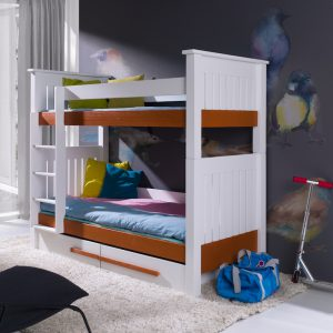 Pat etajat din lemn masiv de pin pentru copii Casimir