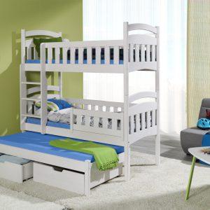 Pat etajat din lemn masiv de pin pentru copii Dominik III