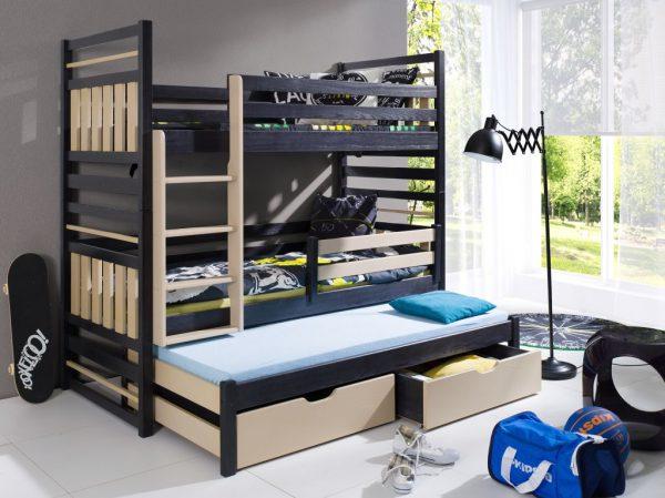 Pat etajat din lemn masiv de pin pentru copii Hipolit