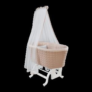 Patut cu sistem de leganare, pentru bebe Baby Cotton White / Cream, 80 x 45 cm