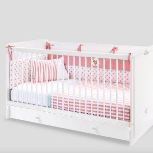 Patut din pal cu sertar, pentru bebe Romantica Baby White, 140 x 70 cm