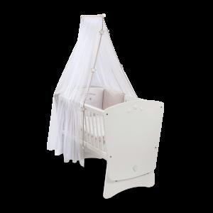 Patut din pal cu sistem de leganare, pentru bebe Baby Cotton White, 90 x 45 cm