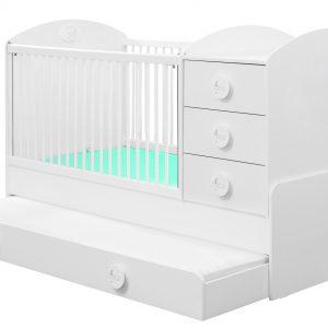 Patut transformabil din pal cu sertar, pentru bebe Baby Cotton White, 180 x 80 cm