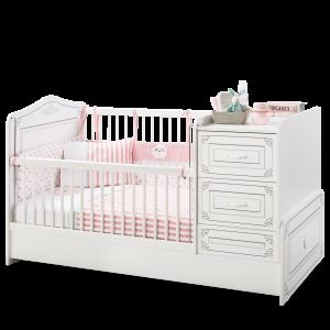 Patut transformabil din pal, pentru bebe Selena Baby White, 160 x 75 cm