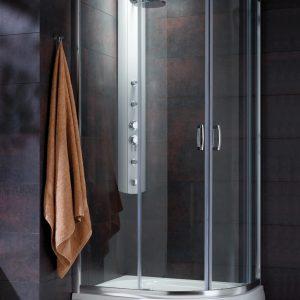 Cabina de dus semirotunda Radaway Premium Plus E 1900 90x80 cm sticla transparenta