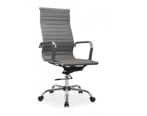 Scaun de birou directorial, tapitat cu piele ecologica Q-040 Grey, l55xA47xH108-116 cm