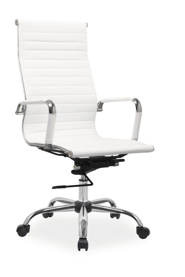 Scaun de birou directorial, tapitat cu piele ecologica Q-040 White, l55xA47xH108-116 cm