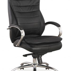 Scaun de birou directorial, tapitat cu piele naturala si ecologica Q-154 L Black, l65xA53xH116-122 cm
