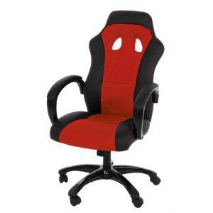 Scaun de birou directorial, tapitat cu piele ecologica si stofa Race Red / Black, l64xA67xH108-118 cm