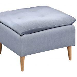 Taburet tapitat cu stofa, cu picioare din lemn masiv Skandia Blue, l60xA60xH42 cm