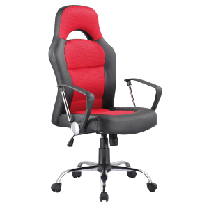 Scaun de birou directorial, tapitat cu piele ecologica si stofa Q-033 Red / Black, l63xA50xH116-126 cm