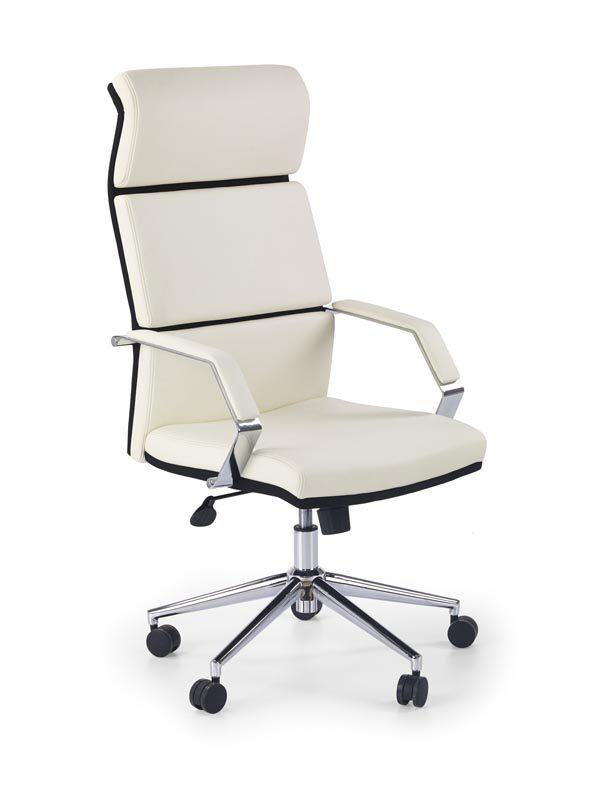 Scaun de birou directorial tapitat cu piele ecologica Costa White / Black, l60xA63xH117-124 cm