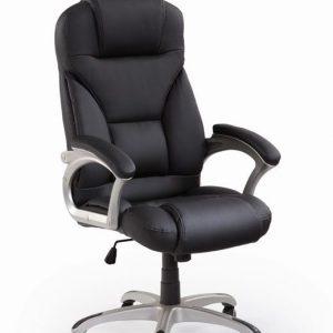 Scaun de birou directorial tapitat cu piele ecologica Desmond Black, l67xA70xH112-119 cm