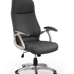 Scaun de birou directorial tapitat cu piele ecologica Edison Black, l61xA70xH111-118 cm