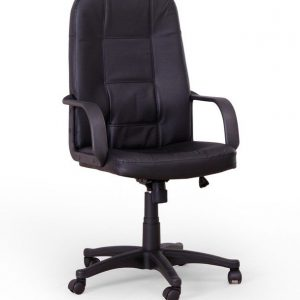 Scaun de birou directorial tapitat cu piele ecologica Expert Black, l62xA64xH106-115 cm