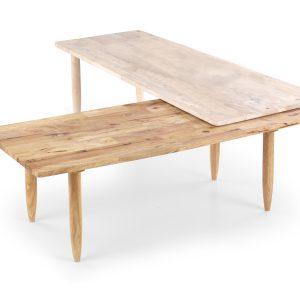 Set 2 masute de cafea din lemn Bora Bora White Wash / Natural, L120-200xl50xH43 cm