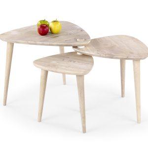 Set 3 masute de cafea din lemn Corsica White Wash, L57xl54xH45 cm