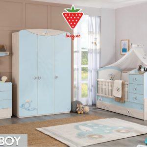 Set Mobila din pal pentru camera bebe, 4 piese Baby Boy Light Blue / Nature