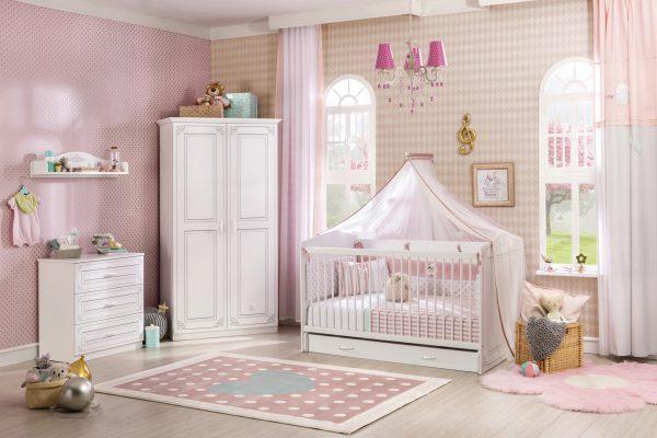 Set Mobila din pal pentru camera bebe, 5 piese Selena Baby White