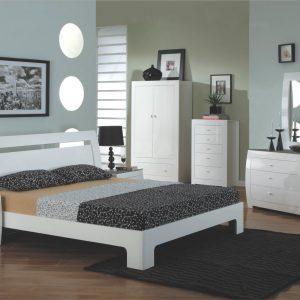 Set Mobila Dormitor din MDF, cu pat 200 x 150 cm, 7 piese Newport White