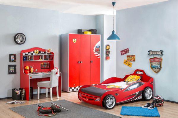 Set Mobila dormitor din pal, pentru copii 3 piese Race Cup Red / Light Blue