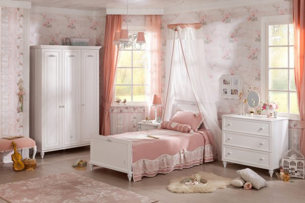 Set Mobila dormitor din pal, pentru copii si tineret 4 piese Romantica White